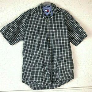 Tommy Hilfiger Shirt Mens M Plaid Button Up Pocket